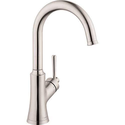 Buy Hansgrohe 04795800 Joleena 14-inch Tall 1-Handle Steel Optic Drain Sold Separately Bar Faucet