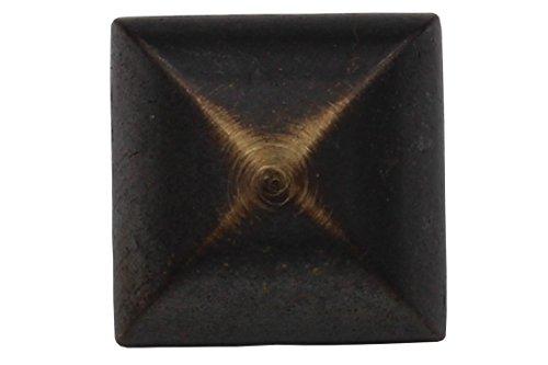 6 stuks, leuke, hoekige metalen knoppen, met oogje, gebogen, bruin, donker kant, gouden metalen knoppen, made in Germany, 21 mm
