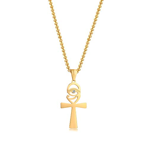 VNOX Stainless Steel Ankh Necklace Eye of Horus Pendant,Ancient Egyptian Symbol of Protection Pendant Necklace with Free Chain.Gold