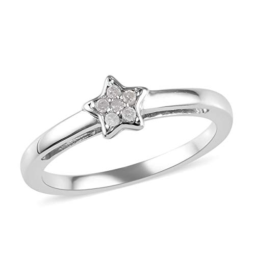 Diamond Star Stacker Ring Platinum Plated 925 Sterling Silver Size J