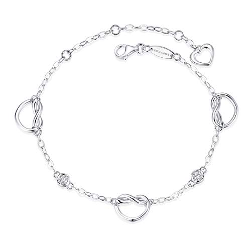 ESSIE ODILA Women Infinity Love Knot Bracelet 925 Sterling Silver White Gold-Plated Charm for Girls Celtic Symbol Jewelry Gift Xmas