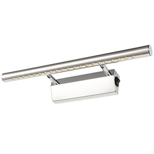 LEORX 7W LED Bildbeleuchtung Wandleuchten Badlampe Edelstahl 85V-265V mit Schalter (Warmweiß)