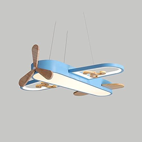 Zenghh Avión techo luz propulsor ventilador avión de madera chandelier world war II bombardero aniquilación luchador shell colgante lámpara led atenuación 48 w para niños niño niña dormitorio ropa tie
