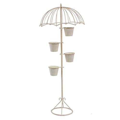 FANGQIAO Shop-Blumenständer Bodenstehender Regenschirm Dekorative Ornamente Innenbalkon Blumenständer Eisenblumenständer Blumenständer-10.6 (Color : White, Size : Plus LED Light String)