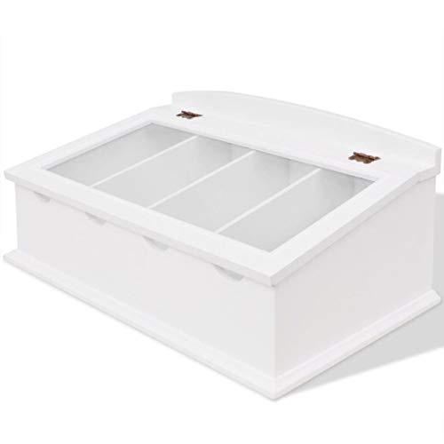 vidaXL Cubertero Estilo Barroco con Tapa de Cristal Material MDF de Color Blanco