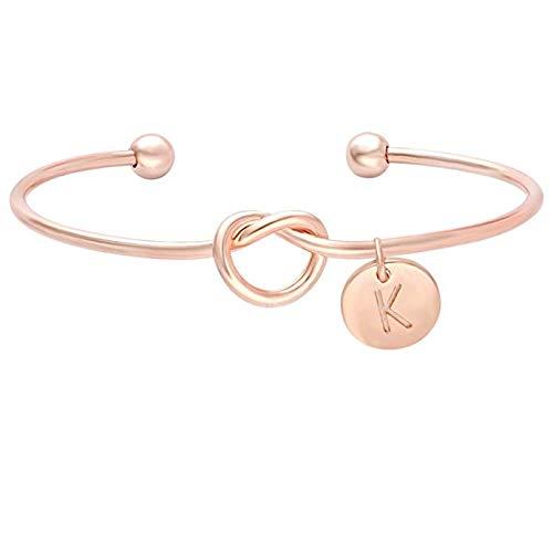 BONNIO Bridesmaids Gift Tie der Knoten Einzelne Anfangsbuchstaben Personalisierte Reize Armband Mädchen Schmuck Size #K