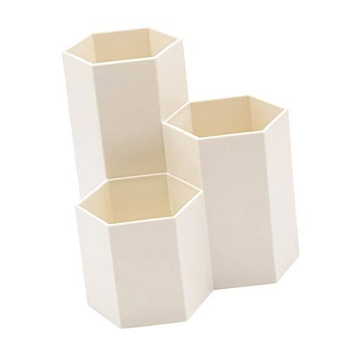 Aweisile Portalapices Hexagonal Portalápices de Organizador de Pluma de Lápices Plástico Caja de Almacenamiento de Escritorio Portalápices para Oficina,para Escritorio,Beige