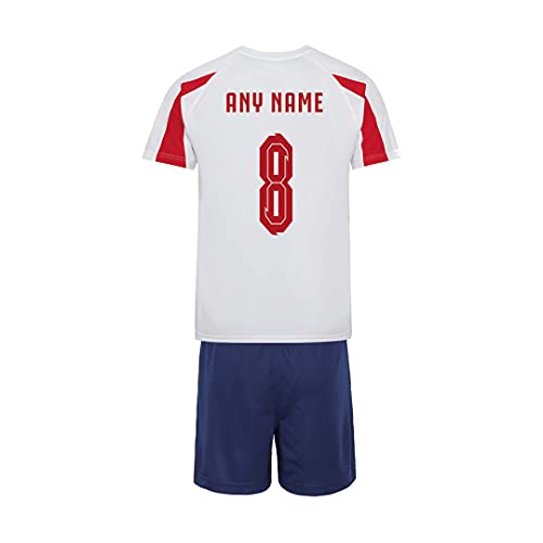 Sportees Retro Kids Personalised Contrast Red, White & Blue England Style Home Football Kit With FREE Socks & Bag Youth Football England Boys Or Girls Football Jersey Child Football Kit - 12/13 Years