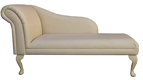 Beaumont Fabrics 52' Large Classic Chaise Longue - Sofa Day Bed - Cream Faux Leather - Left Facing With Queen Anne Legs