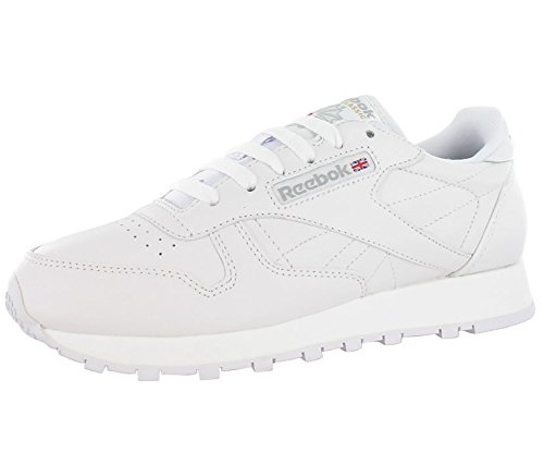 Reebok mens Classic Leather Casual Sneakers, White/White/Light Grey 2, 10.5 US