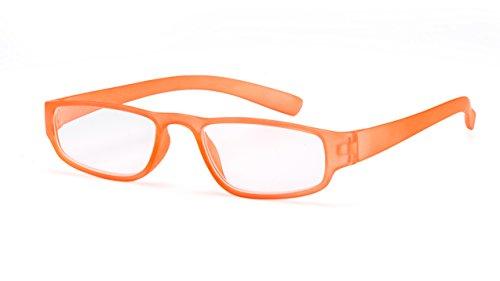 Extrem leichte Filtral Lesebrille in der Trendfarbe Orange/Moderne eckige Lesehilfe für Damen & Herren / +1,50 dpt F4519783
