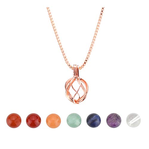 JSDDE 7 Chakra Reiki Healing Crystal Gemstones Natural Beads Round Shape Hollow Locket Pendant Necklace (Rose Gold)