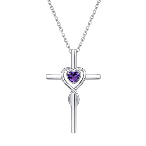 FANCIME 925 Sterling Silver Genuine Amethyst February Birthstone Heart Infinity Cross Crucifix...