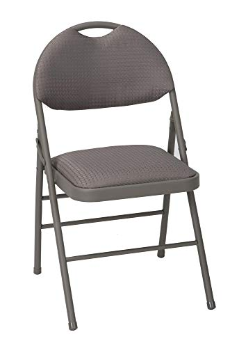 Cosco Products 60878TCD4E Commercial Comfort Back Fabric Folding Chair with Handle Hole, 4 Pack, Taupe