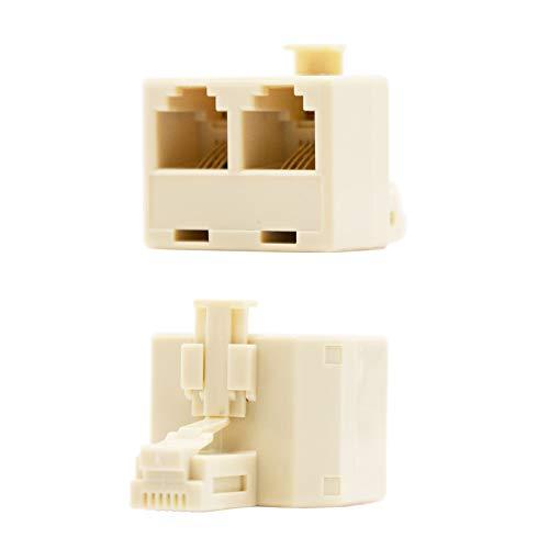 Nanocable 10.33.0502-OEM - splitter voor telefoonkabel RJ11, 6P4C, 2x1, vrouwelijk-mannelijk, beige