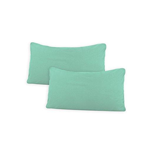 SHC Textilien Conjunto de Dos Fundas de Almohada, Funda de Almohada, Fundas 100% algodón con Cremallera - 15 Colores y 5 tamaños 40x60 cm Verde Menta