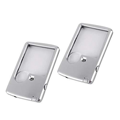 HAMILO ルーペ 携帯 ポケットルーペ 薄型 カードサイズ LEDライト付き 拡大鏡 虫眼鏡 (2個セット)