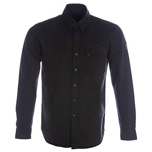 Photo of Belstaff Men's Twill Woven Pitch Shirt M Black