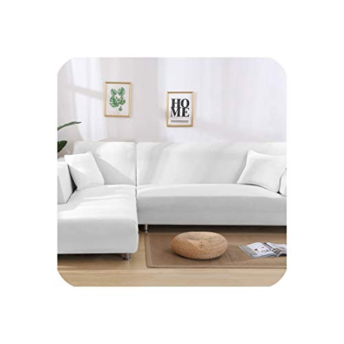 Funda de sofá elástica en forma de L para sala de estar, chaise longue, funda de sofá seccional, funda de sofá esquinera, forma de L, elástica, 2 unidades, Blanco, 3seater and 3seater