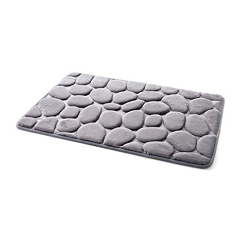 X-Labor Weich Memory Schaum Saugfähige Badematte Schnelltrocknend Anti-Rutsch Badvorleger Badteppich Duschvorleger für Badezimmer Küche (grau Stein)