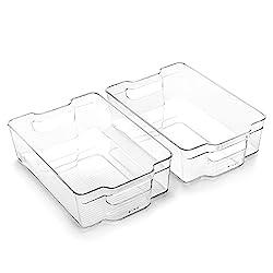 2 clear plastic organizing bins