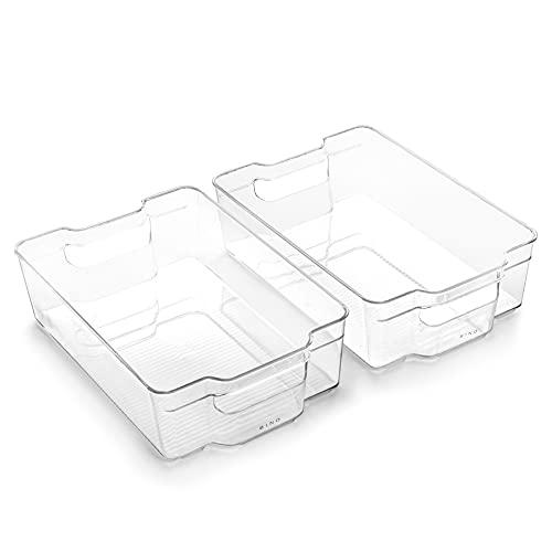 BINO | Stackable Plastic Storage Bins, Large - 2 Pack | THE STACKER COLLECTION | Multi-Use Organizer Bins | BPA-Free | Pantry Organization | Home Organization | Fridge Organizer | Freezer Organizer