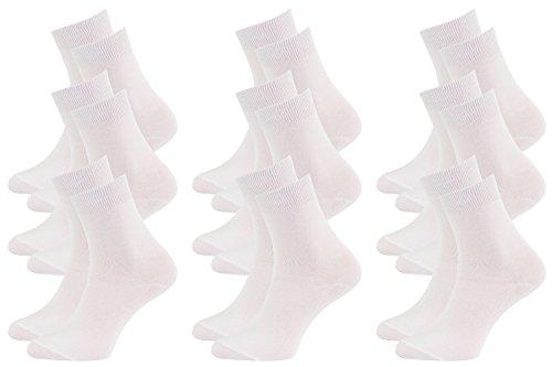 Rainbow Socks - Hombre Mujer Calcetines Colores de Bambu - 9 Pares - Blanco - Talla 36-38
