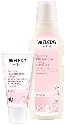 WELEDA Mandel Sensitiv Feuchtigkeitspflege (1 x 30 ml) + Pflegelotion, Naturkosmetik Bodylotion zur Pflege und Beruhigung sensibler Haut (1 x 200 ml)