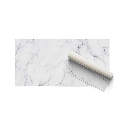 DON LETRA Alfombra Vinílica para Salón, Dormitorio y Cocina - Diseño de Mármol Blanco - 100 x 50 x 0.2 cm, ALV-001