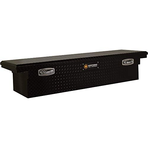 Northern Tool Low Profile Crossover Truck Tool Box with Removable Tray - Aluminum, Gloss Black, Pull Handle Latches, 69in. x 20in. x 13in, Model Number 36212722