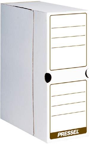 Pressel Archivbox, Steckverschluss, A4, 10x26x32cm, i: 9,2x25x31,8cm, weiß