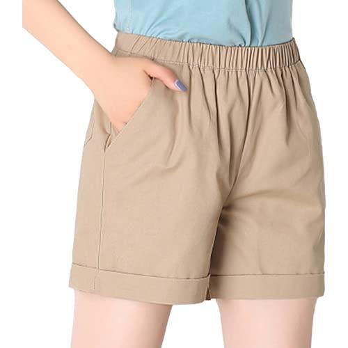 Pantalones Cortos para Mujer Verano Casual Todo-fósforo Tallas Grandes Pantalones Cortos Rectos Sueltos Confort en el hogar Pantalones Cortos de Cintura elástica con cordón 4XL