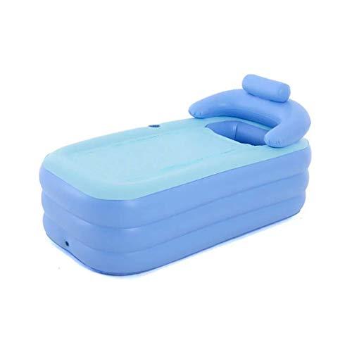 GXY Bañera Inflable para Niños, Bañera de Hidromasaje Inflable, Antideslizante Plegable Y Portátil con Cojín para Piscina Y Viaje,Azul