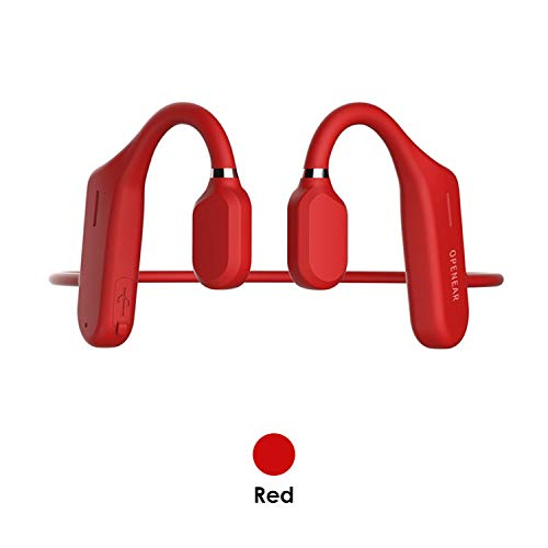 Air Bone Conduction Headphones Open-Ear Wireless Bluetooth 5.0 IPX5 Sweatproof 6D Surround Sound Earphones Sports Headsets for Running Driving Cycling (Red)