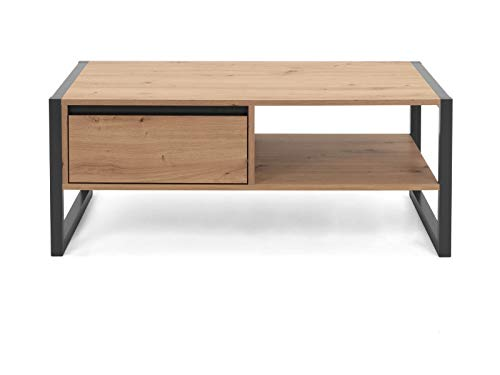 Tavolino da salotto Denver in rovere Artisan e antracite look industriale, con cassetto, 100 x 55 cm
