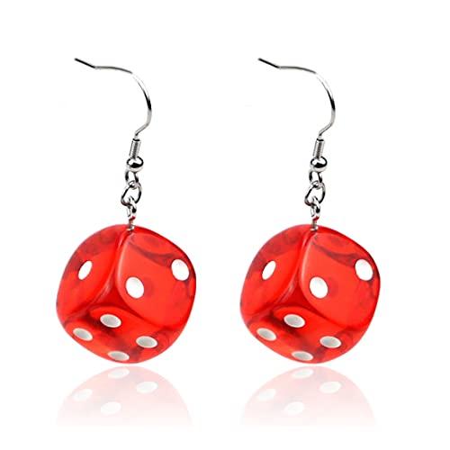 BOSAIYA PJ Pendiente de Mujer Pendiente Rojo 3D Juego de ajedrez Hip Hop Night Club Jewelry Largo Acero Inoxidable Ear Gancho de Oreja y Pendientes de Dados acrílicos TL820 (Metal Color : Red)