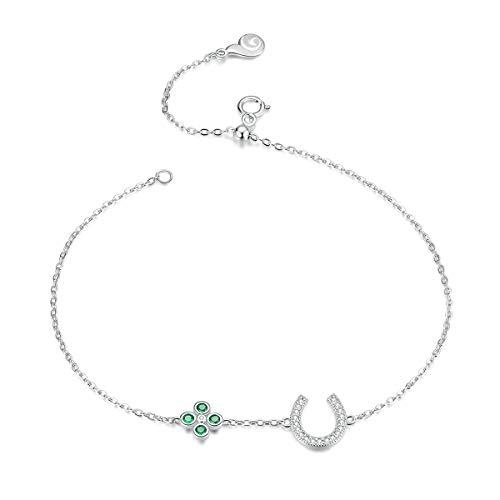Inveroo Pulseras de Herradura de la Suerte de Plata de Ley 925, Pulseras de eslabones de Cadena de Cristal Cz para Mujer, joyería de Plata de Ley 21cm