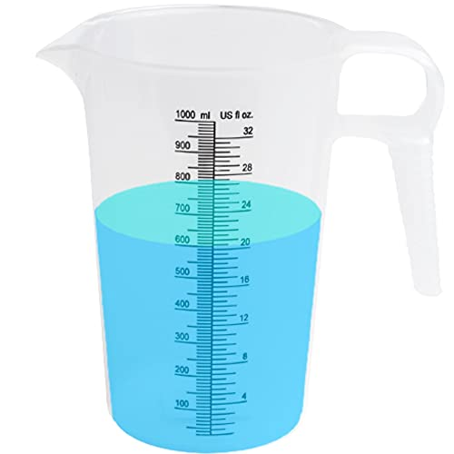 Measuring Pitcher - Large Measuring Container - Great Pool Measuring Cup For Chemicals Also Used For Motor Oil Measuring , Lawn Measuring, Lye Container - Measuring Cup Plastic (32oz)