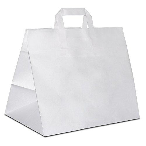 50 x Brötchentüte | Konditortüten extra breiter Boden weiss 32+22x27 cm | stabile Giveaway | Brotbeutel weiter Boden | Konditortüten | HUTNER