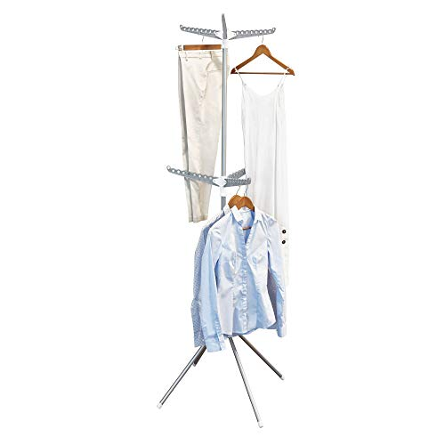 InterDesign Brezio séchoir à linge tripode, étendoir à linge en métal pour la buanderie, sèche-linge extensible à 2 étages, argenté/blanc/gris