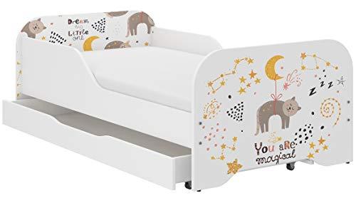 iGlobal Kinderbett Jugendbett Miki mit Lattenrost und Matratze, eine Unterbett-Schublade mit Rollen, Rausfallschutz 70x140 80x160 (160 x 80 cm, Kitten)