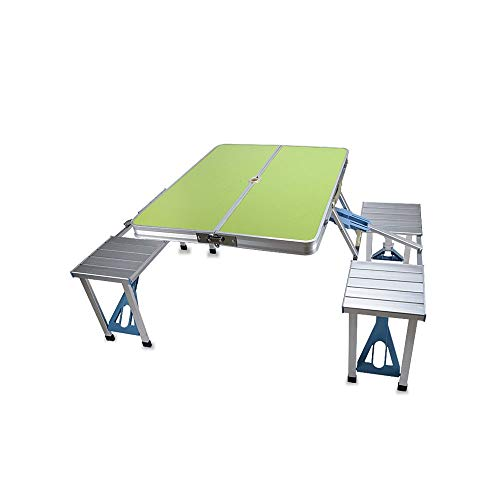 BUYT Picnic Tables Folding Table with 4 Stools Multi-Person Outdoor Camping Leisure Dining Table with Umbrella Hole