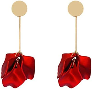 Rose Petal Dangle Drop Earrings Red Rose Flower Blossom Leaf Statement Earrings Geometric Circle product image