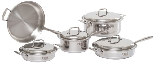 360 Stainless Steel Cookware Set, Handcrafted in the USA, Induction Cookware, Waterless Cookware, Dishwasher Safe, Oven Safe, Surgical Grade Stainless Steel Cookware, Pots and Pans Set (9 Piece Set)