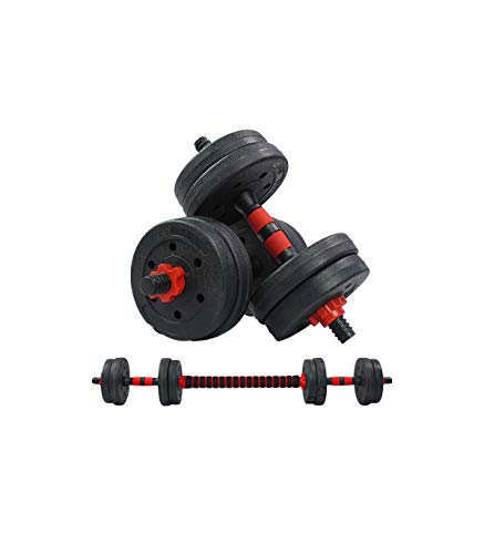 Riscko - Juego De Mancuernas 2 en 1 con Barra Ajustable | Peso Total 40 Kg| Entrenamiento De Fuerza | Equipo de Fitness para Casa y Gimnasio con Barra de Conexión