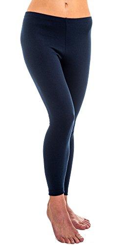 HERMKO 1720 2er Pack Damen Legging aus 100% Baumwolle, Leggin, Farbe:marine, Größe:36/38 (S)
