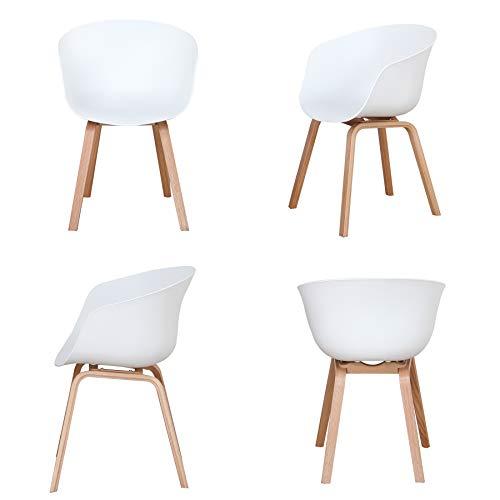 GrandCA HOME Set di 4 Sedie da Pranzo, Design Nordico con Braccioli e Gamba in Legno Massello, per Ristorante Cucina Soggiorno. (Bianco)