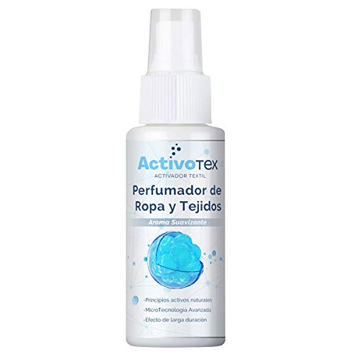 ActivoTex Eliminador de olores Ropa, colchones Sofas | Ambientador para el hogar y Tejidos | Spray perfumador Quita olores (Aroma Limpio, 80 ml)