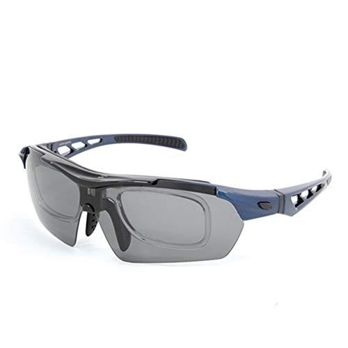 [オーリンク]olink 選べる2タイプ・4カラー スポーツサングラス シーンで使い分け!交換レンズ5枚セット 度付き対応 偏光 UVカット 運動 アウトドア レジャー 男女兼用 サングラス [並行輸入品] ((2)202BL)