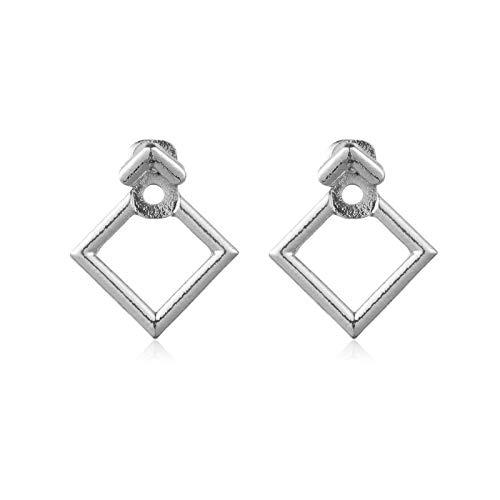 Xpwoz Pendientes de Acero Inoxidable del Acero Inoxidable del triángulo de Moda Unisex (Color : Silver)